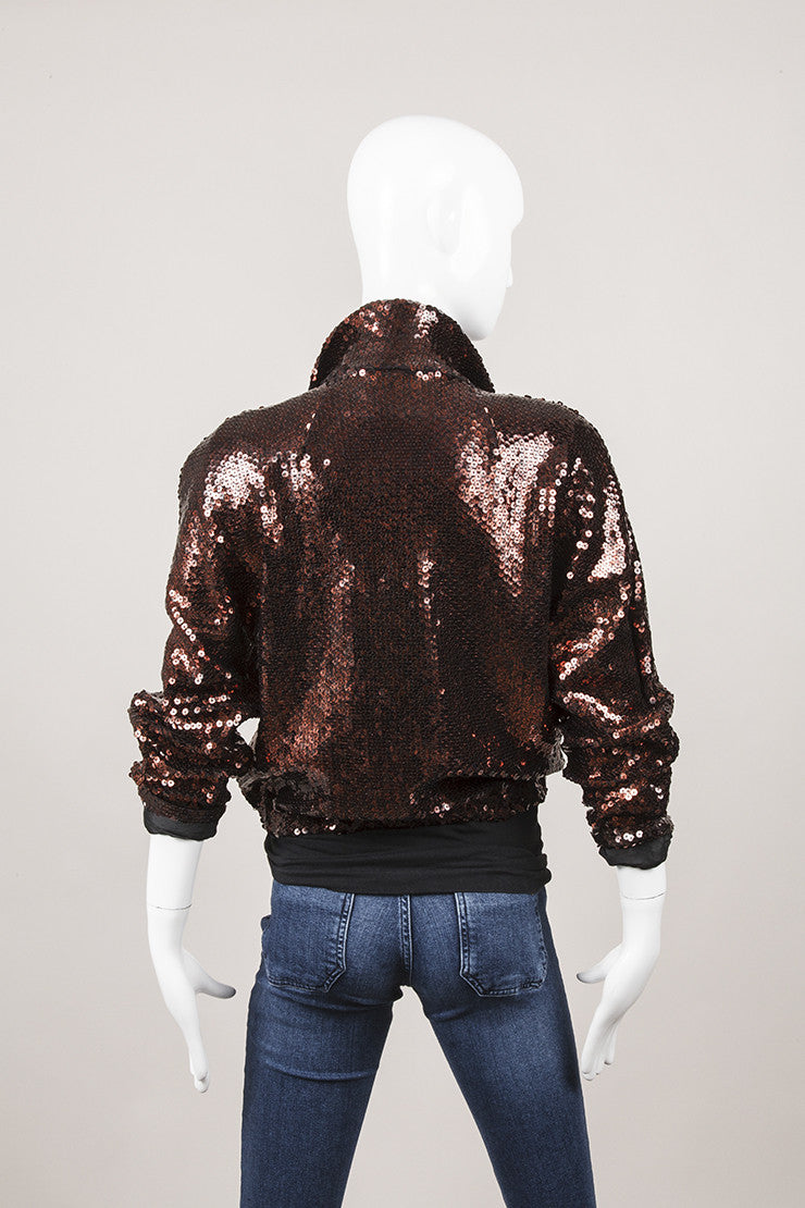 Bronze Sequin Bomber Jacket