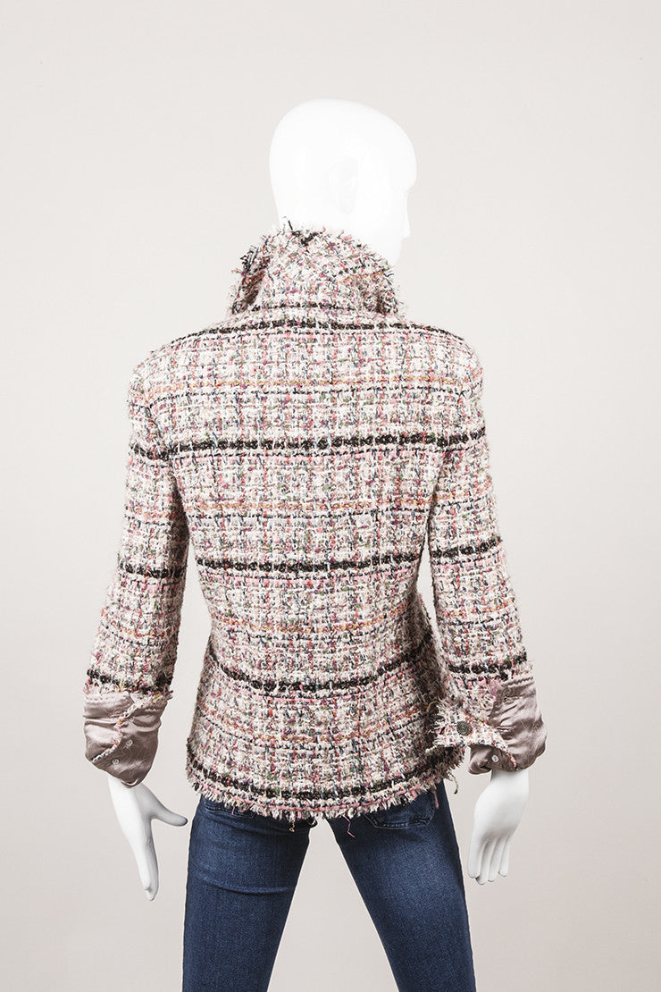 New With Tags Pink, Black, and White Woven Jacket