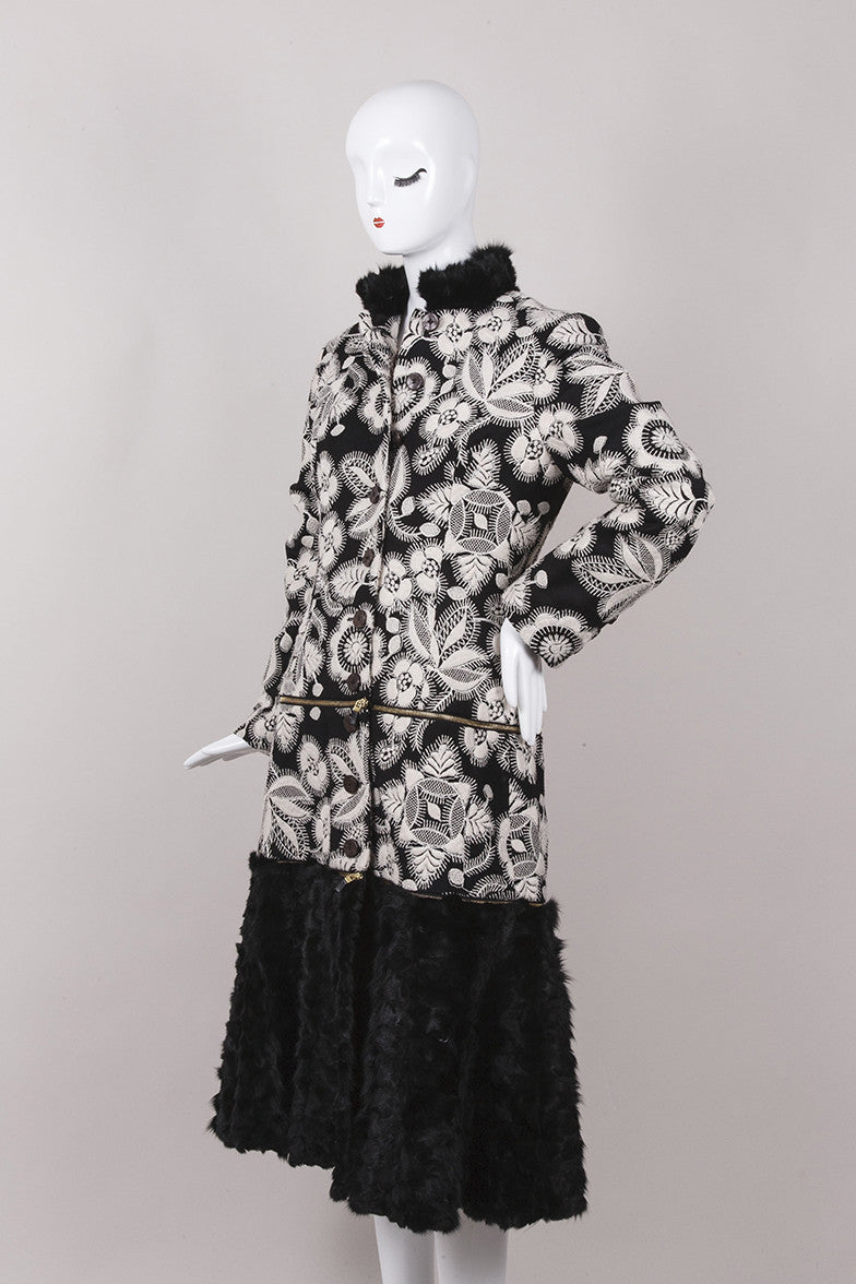 Black and Cream Wool Coat With Rabbit Fur Trim
