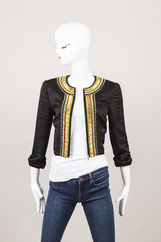 New With Tags Black and Gold Bead Embellished Jacket