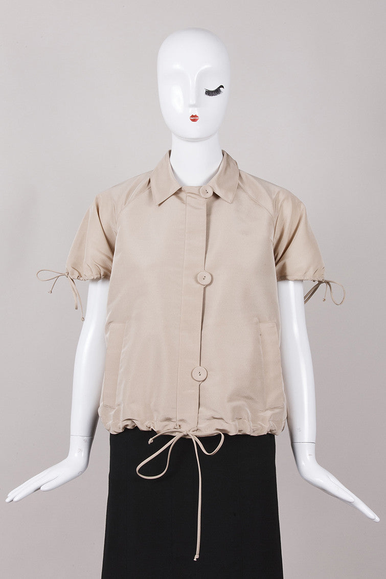 Mink Trimmed Short Sleeve Silk Jacket