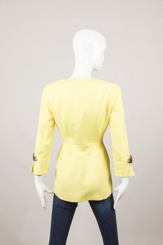 Yellow Cotton Blazer With Metal Embellishments
