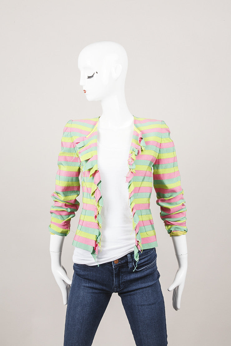 Pink, Green, and Lime Stripe Ruffe Blazer