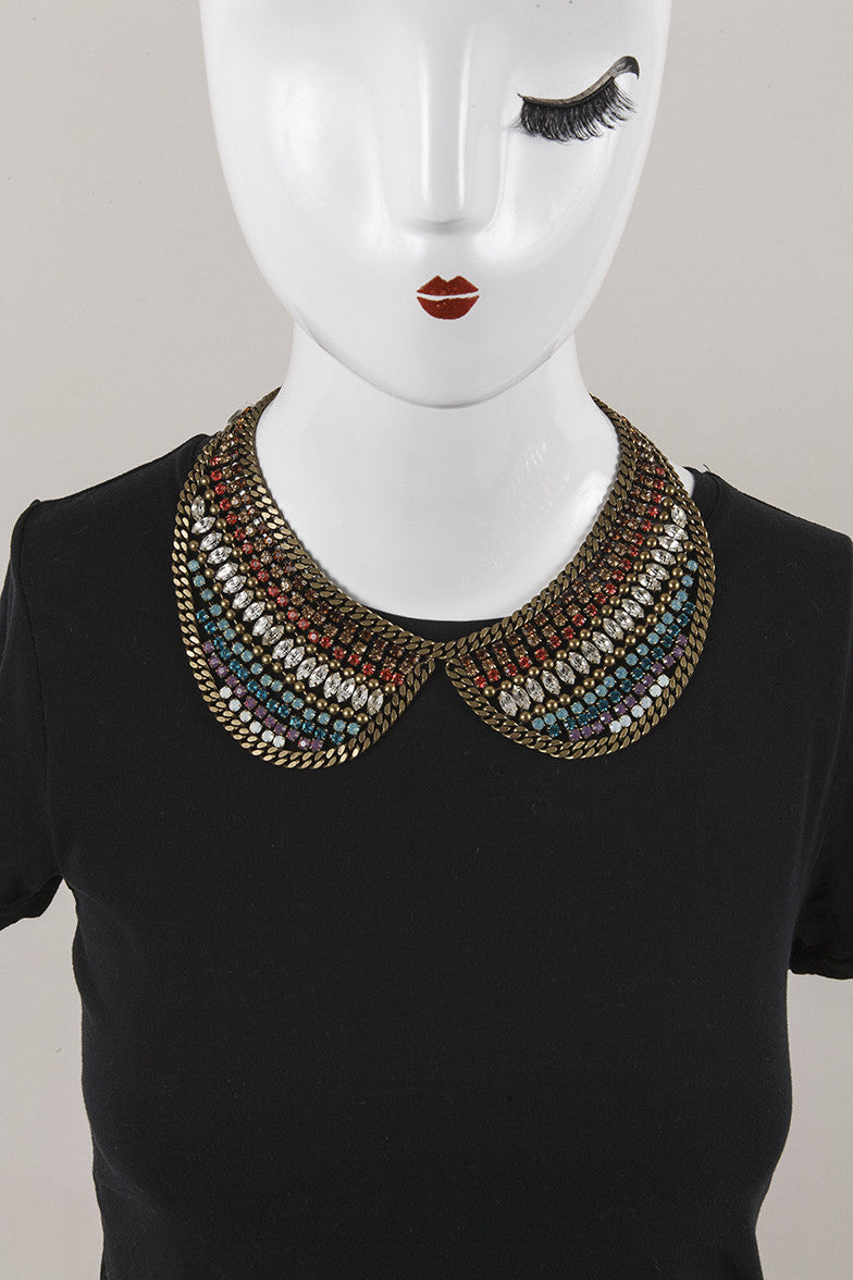 Multicolored Rhinestone Bib Necklace