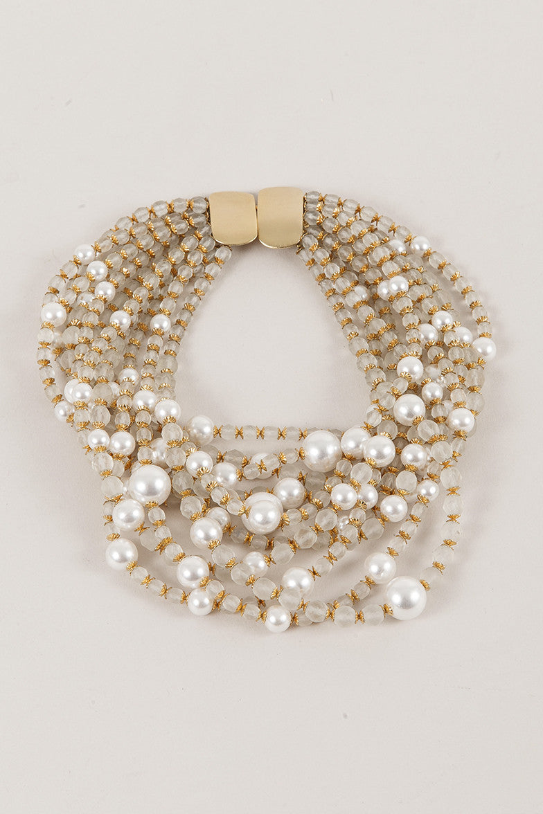 Multistrand Bead and Pearl Necklace