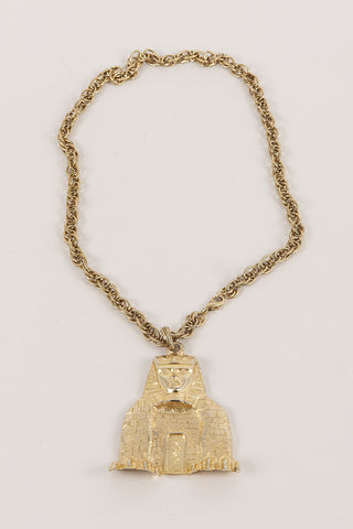 Kenneth Jay Lane Gold Tone Sphinx Pendant Chain Necklace