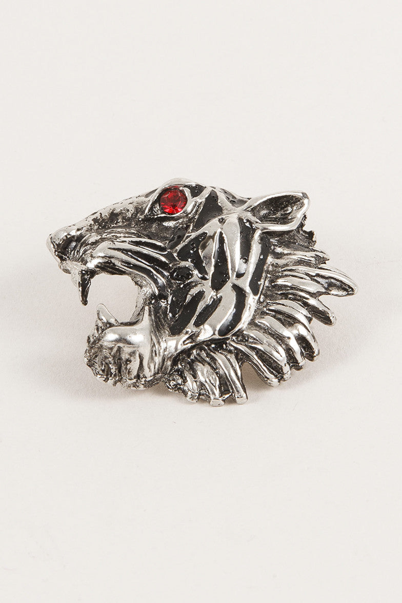 Armani Silver Toned Panther Head Pin