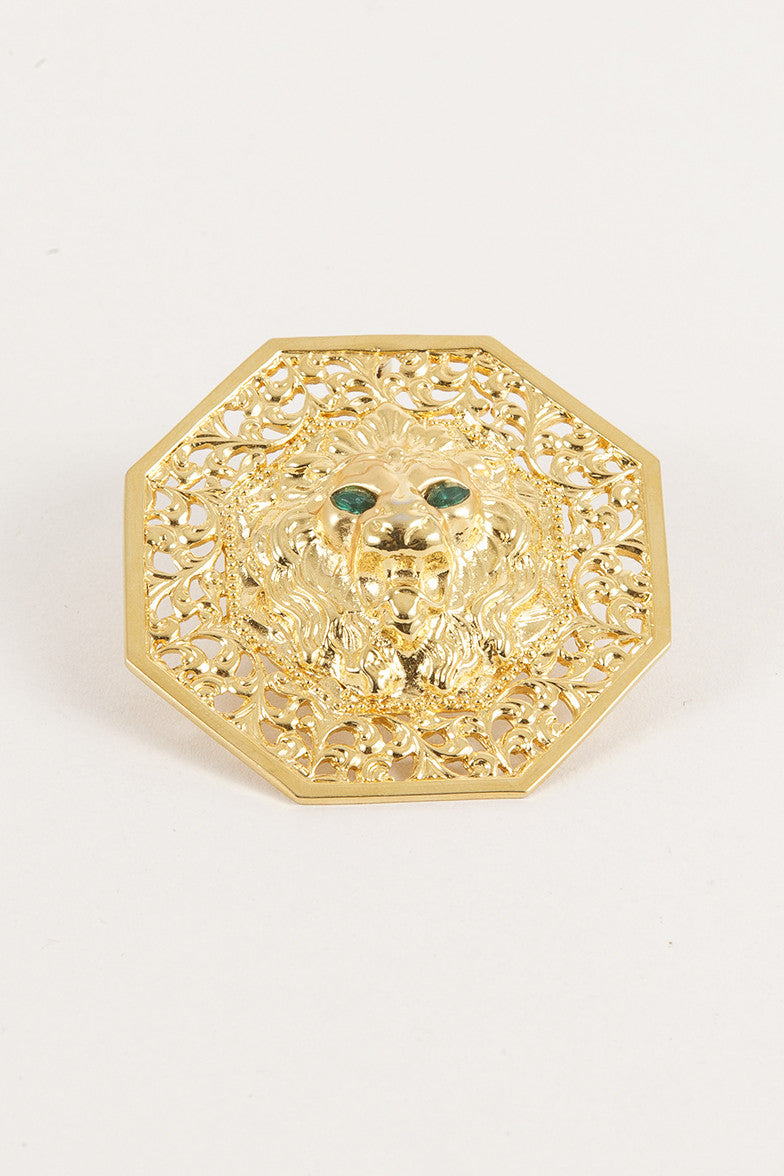 Gold Toned Lion Pin