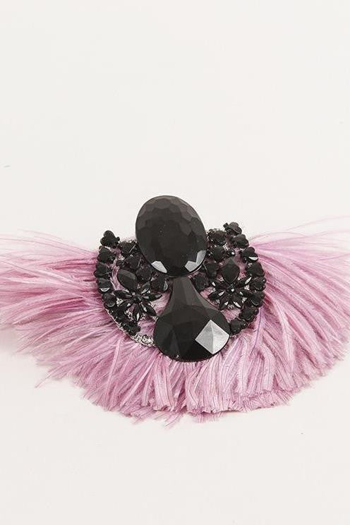 Black Stone and Feather Pin