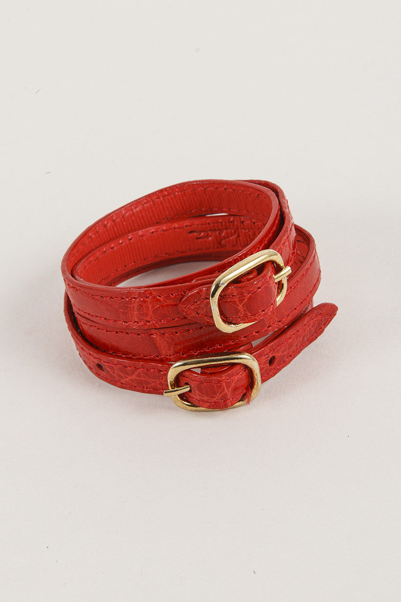 Red Leather Wrap Bracelet