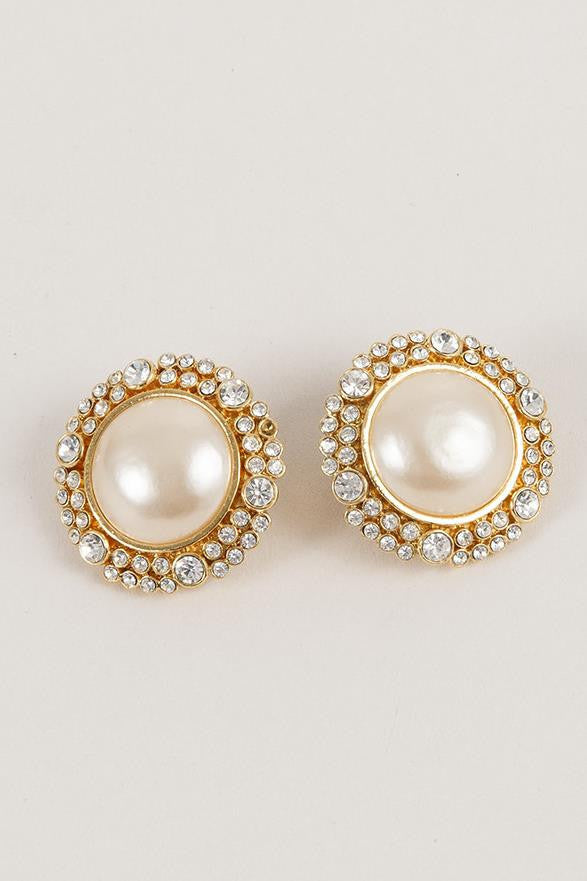 Circular Earrings with Faux Pearls and Rhinestones