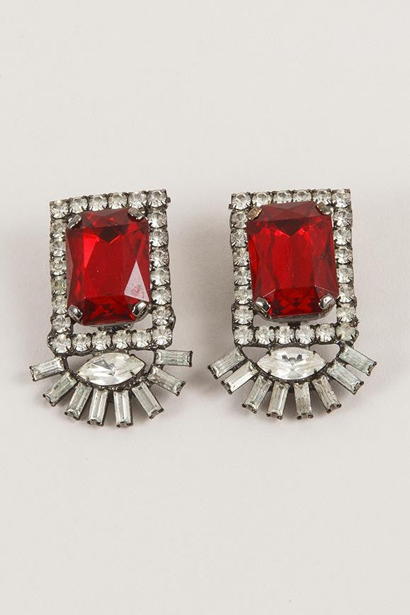 Red Jewel Style Square Cut Earrings