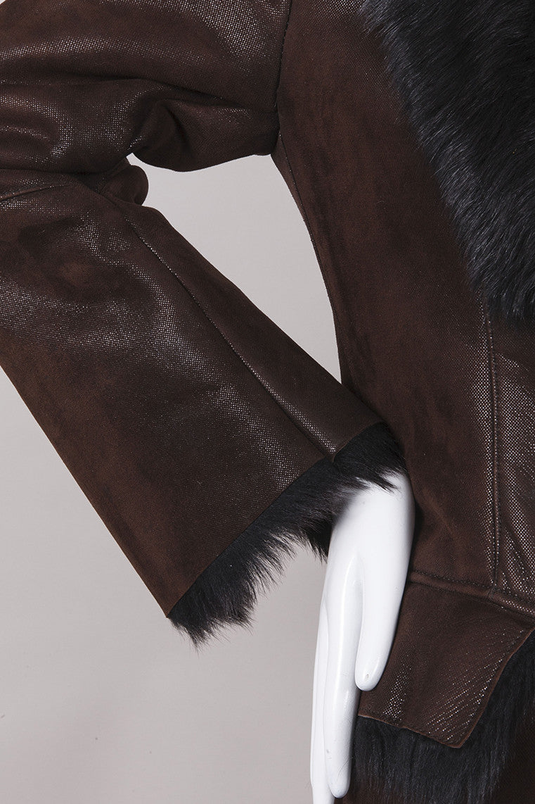 Brown and Black Leather Faux Fur Trim Jacket