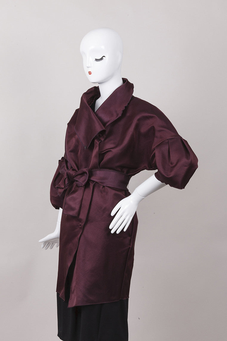 Dark Burgundy Dolman Sleeve Coat