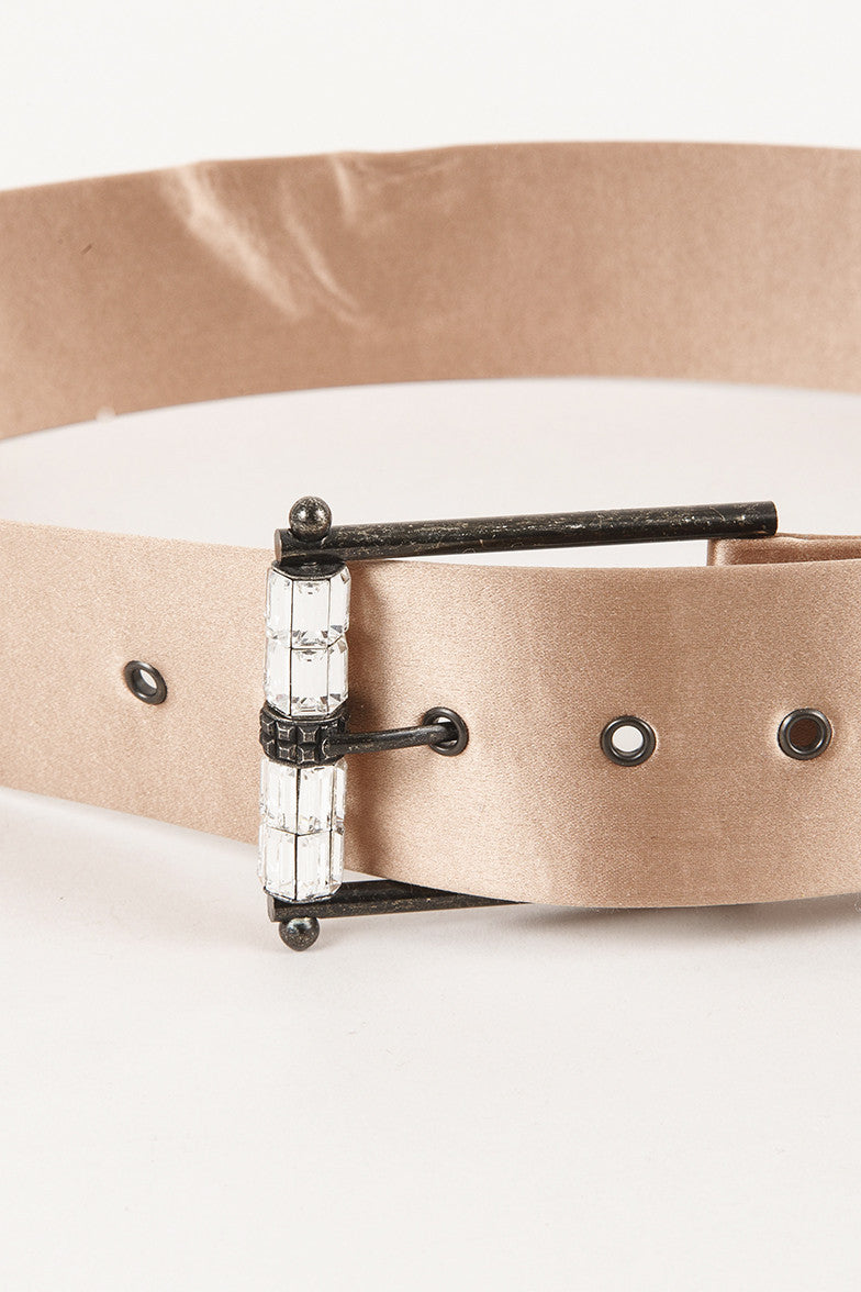 Blush Belt With Embellished Buckle