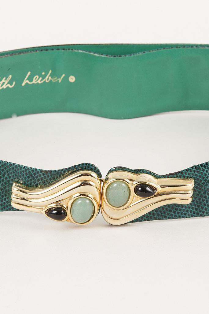 Green Judith Leiber Belt with Jewel Style Clasp