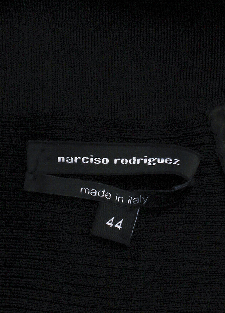 Narciso Rodriguez Black Stretch Knit Cut Out Long Sleeve Bodycon Dress Brand