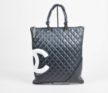 "Chanel Black Quilted Leather 'CC' Logo ""Ligne Cambon"" Tote Bag"