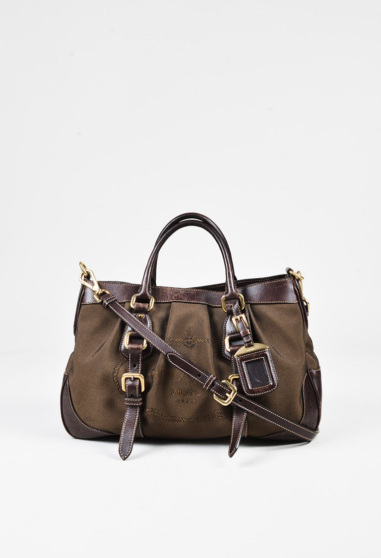 c6a0f33f36cf ... italy prada brown logo jacquard canvas leather trim buckled satchel bag  f54c4 2e35e