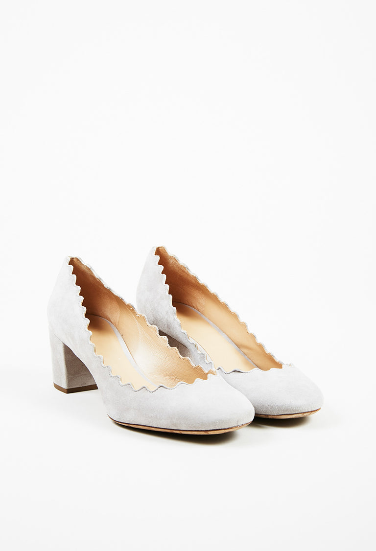 1078cc31d0a Chloe Light Gray Suede Scalloped