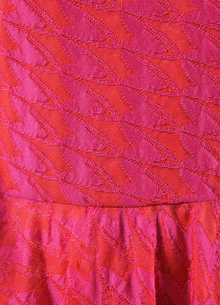Christian Dior Pink Red Mattelasse Knit Decollete Skater Dress Detail