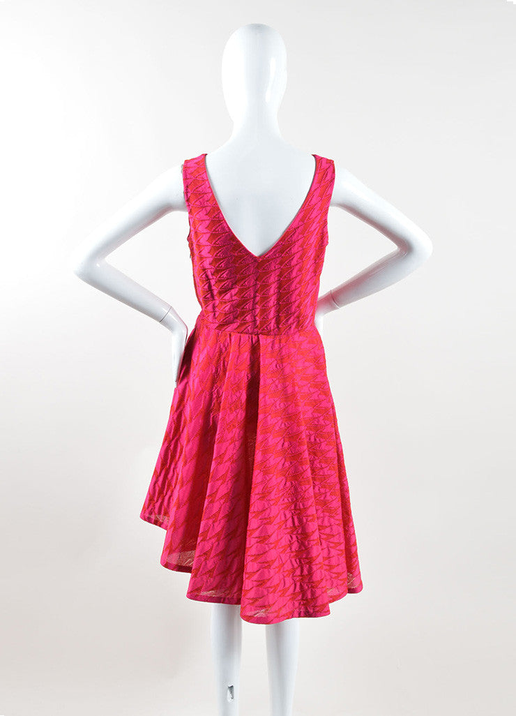Christian Dior Pink Red Mattelasse Knit Decollete Skater Dress Backview