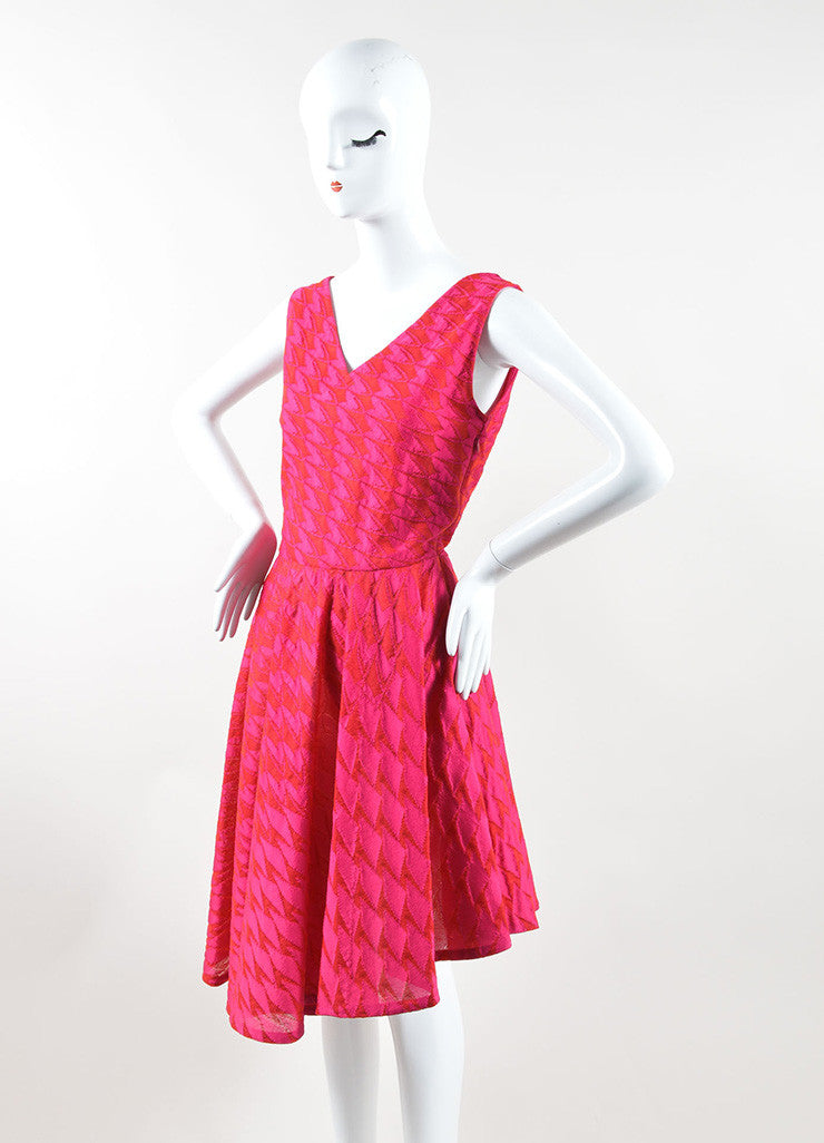 Christian Dior Pink Red Mattelasse Knit Decollete Skater Dress Sideview