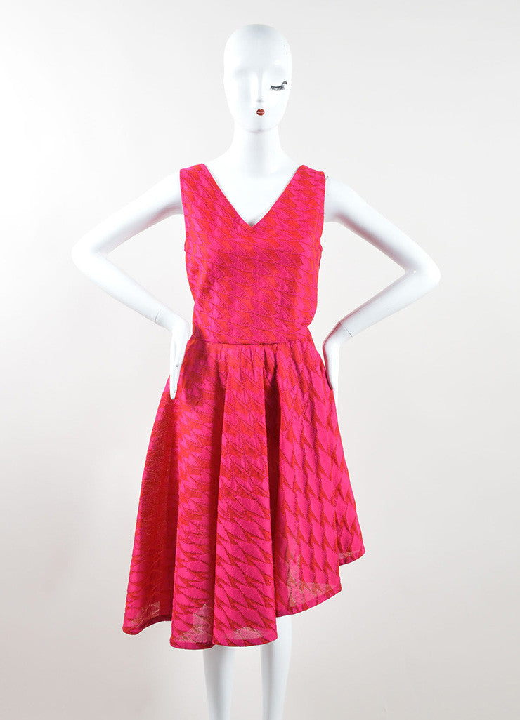 Christian Dior Pink Red Mattelasse Knit Decollete Skater Dress Frontview