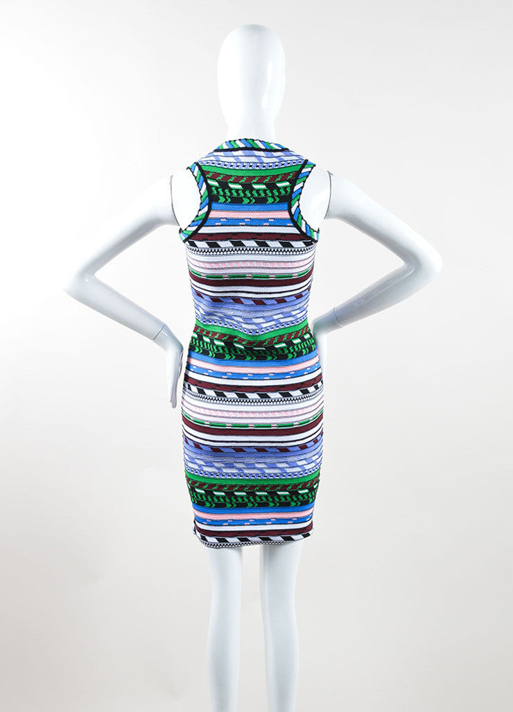 Christopher Kane Multicolor Stripe Textured Knit Bodycon Dress Backview