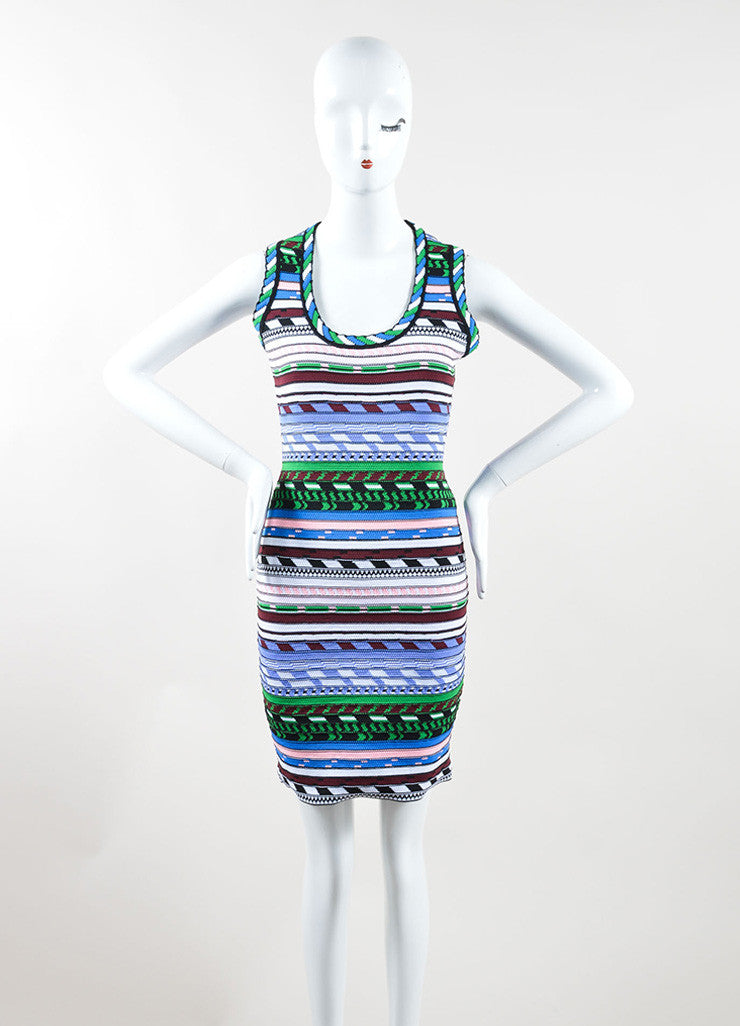 Christopher Kane Multicolor Stripe Textured Knit Bodycon Dress Frontview
