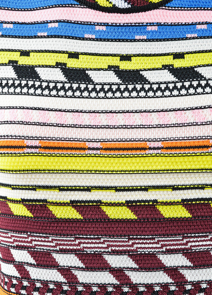 Christopher Kane Multicolor Stripe Textured Knit Bodycon Dress Detail