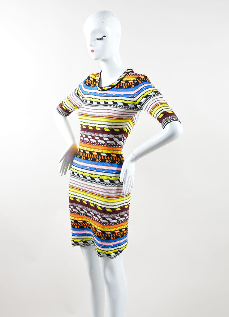 Christopher Kane Multicolor Stripe Textured Knit Bodycon Dress Sideview