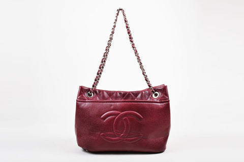 "Chanel Maroon Leather 'CC' Logo Chain Strap ""Timeless Caviar Tote"" Shoulder Bag"