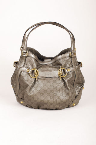 "Gucci Gray Metallic Gold-Tone ""GG"" Monogram Leather Toggle Buckle Tote Bag"