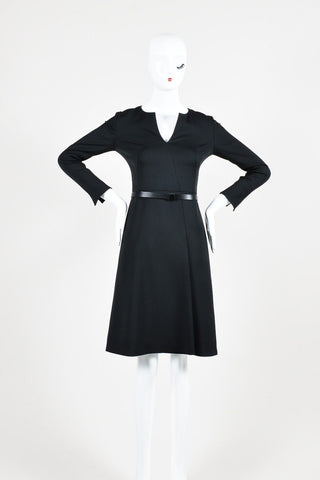 Akris NWT $3990 Black Silk V Neck Long Sleeve Belted Dress SZ 2
