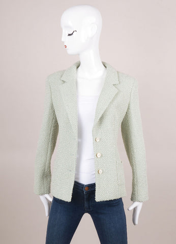 Mint Green Metallic Knit Tweed Jacket