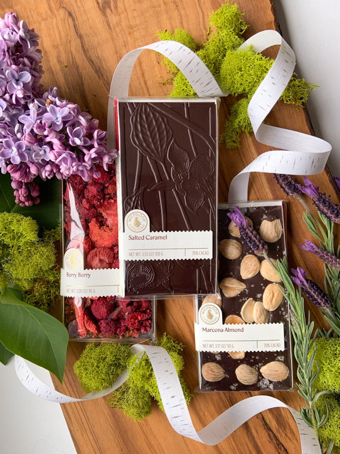 Mother's Day Gift Set Berry Berry Marcona Almond and Salted Caramel Chocolate Bars Wildwood Chocolate