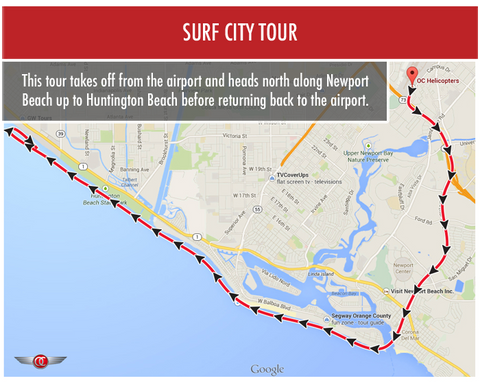 Surf City Tour - Private for 2 - Gift Card - OC Helicopters
