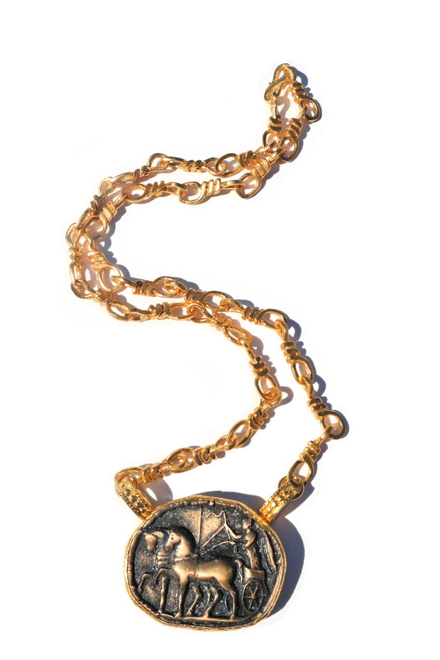 Bucephalus 18K Gold Plated Handmade Necklace