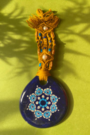 WALL HANGING WITH CERAMIC BLUE AMULET
