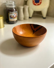 Wooden Round Pyrograph Bowl