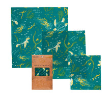 Load image into Gallery viewer, Beeswax Wrap Assorted 3 Pack (S, M, L) Oceans - Ecophant