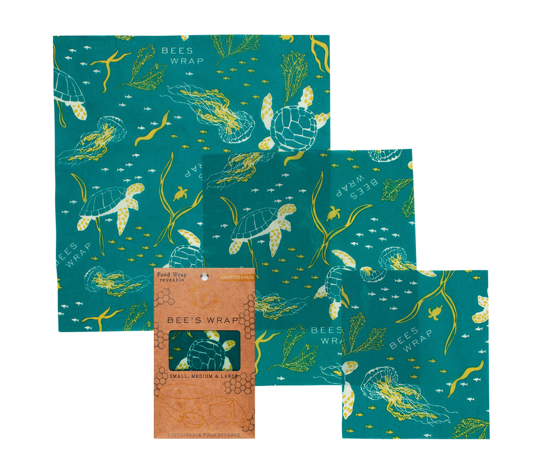 Beeswax Wrap Assorted 3 Pack (S, M, L) Oceans - Ecophant