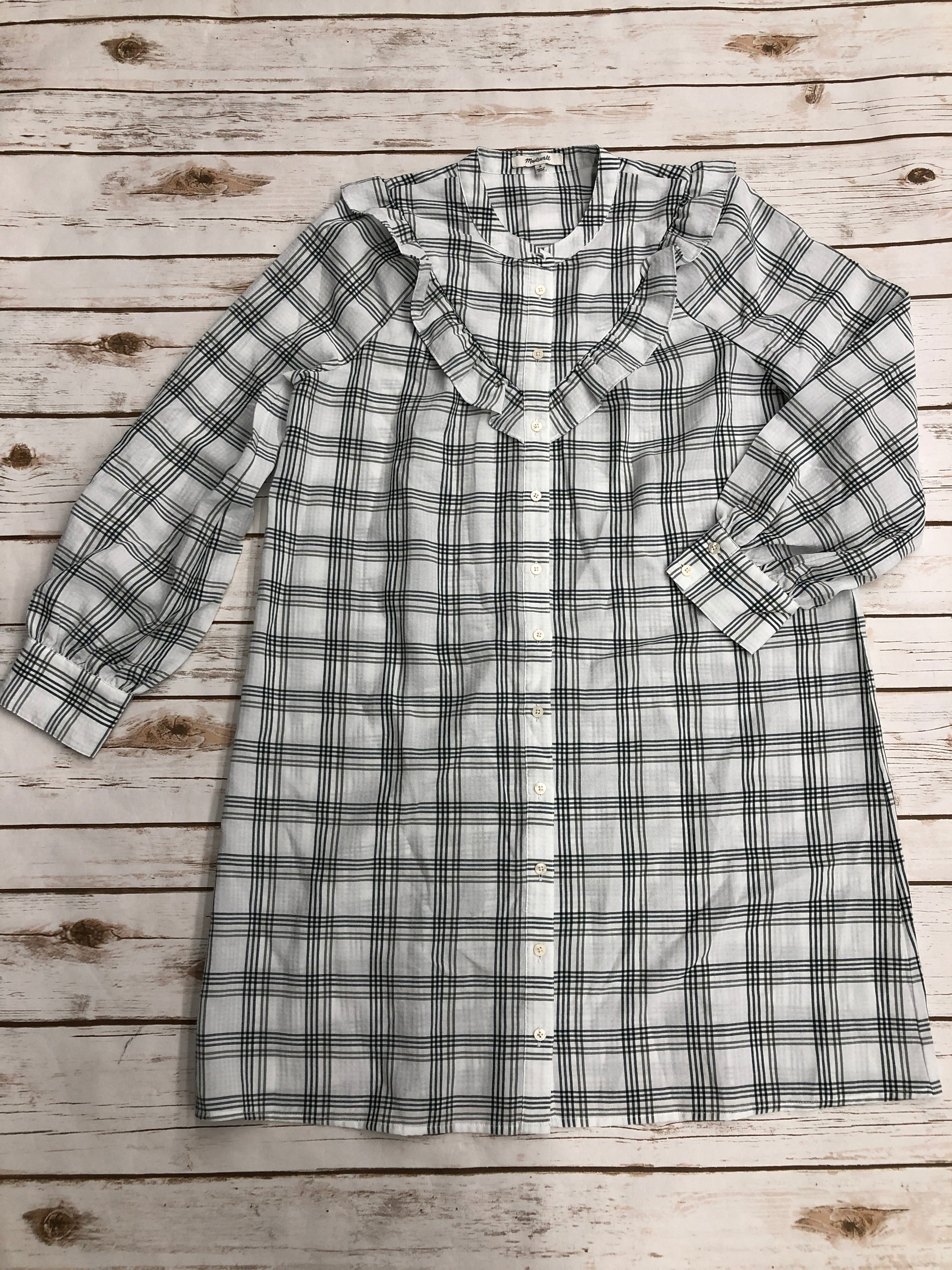 Primary Photo - BRAND: MADEWELL <BR>STYLE: DRESS SHORT LONG SLEEVE <BR>COLOR: PLAID <BR>SIZE: M <BR>SKU: 220-22012-34130