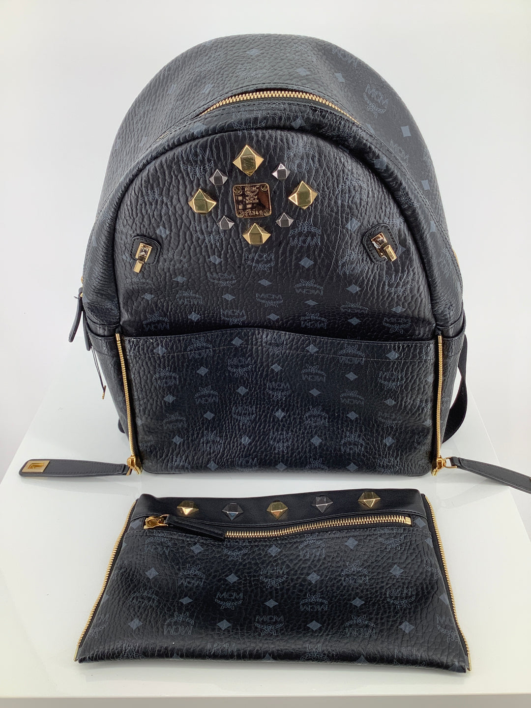 Photo #1 - BRAND: MCM , STYLE: BACKPACK DUAL STARK VISETOS BACKPACK , COLOR: BLACK , SIZE: LARGE , SKU: 105-3221-11130