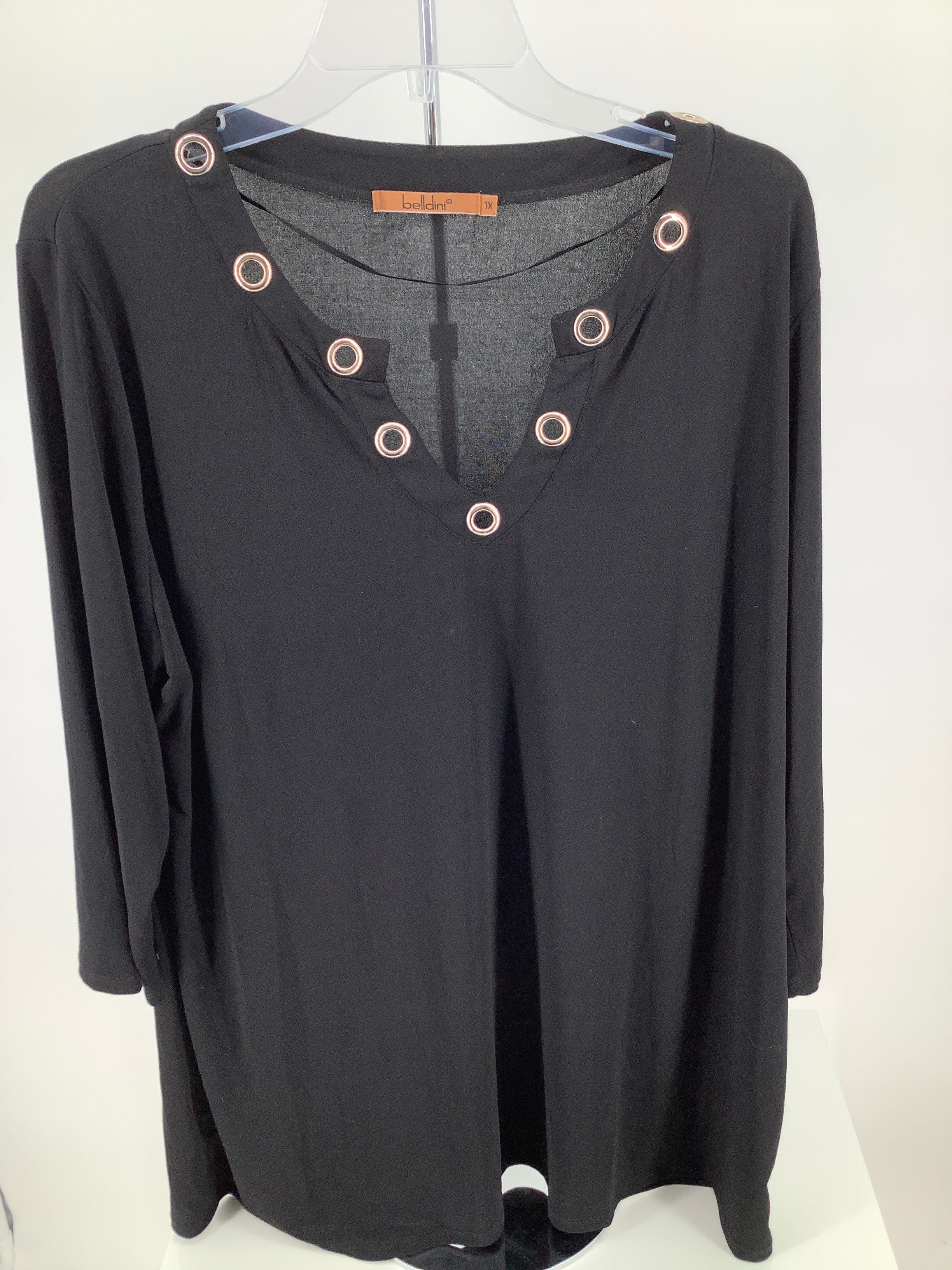 Primary Photo - brand: belldini , style: top long sleeve , color: black , size: 1x , sku: 105-3221-15657