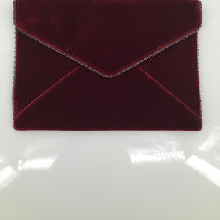 "Rebecca Minkoff Clutch - <P>VELVET WINE-RED COLORED ENVELOPE CLUTCH.,  ""ZIPPER"" DETAIL ACROSS EDGE.,  MAGNETIC FLAP CLOSURE.,  SIX INTERIOR CARD SLOTS.,  AS NEW CONDITION!</P>"