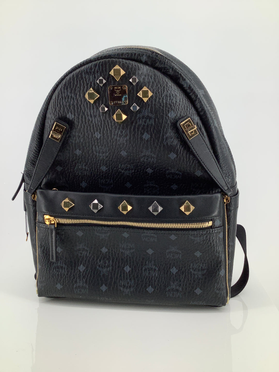 Primary Photo - BRAND: MCM , STYLE: BACKPACK DUAL STARK VISETOS BACKPACK , COLOR: BLACK , SIZE: LARGE , SKU: 105-3221-11130