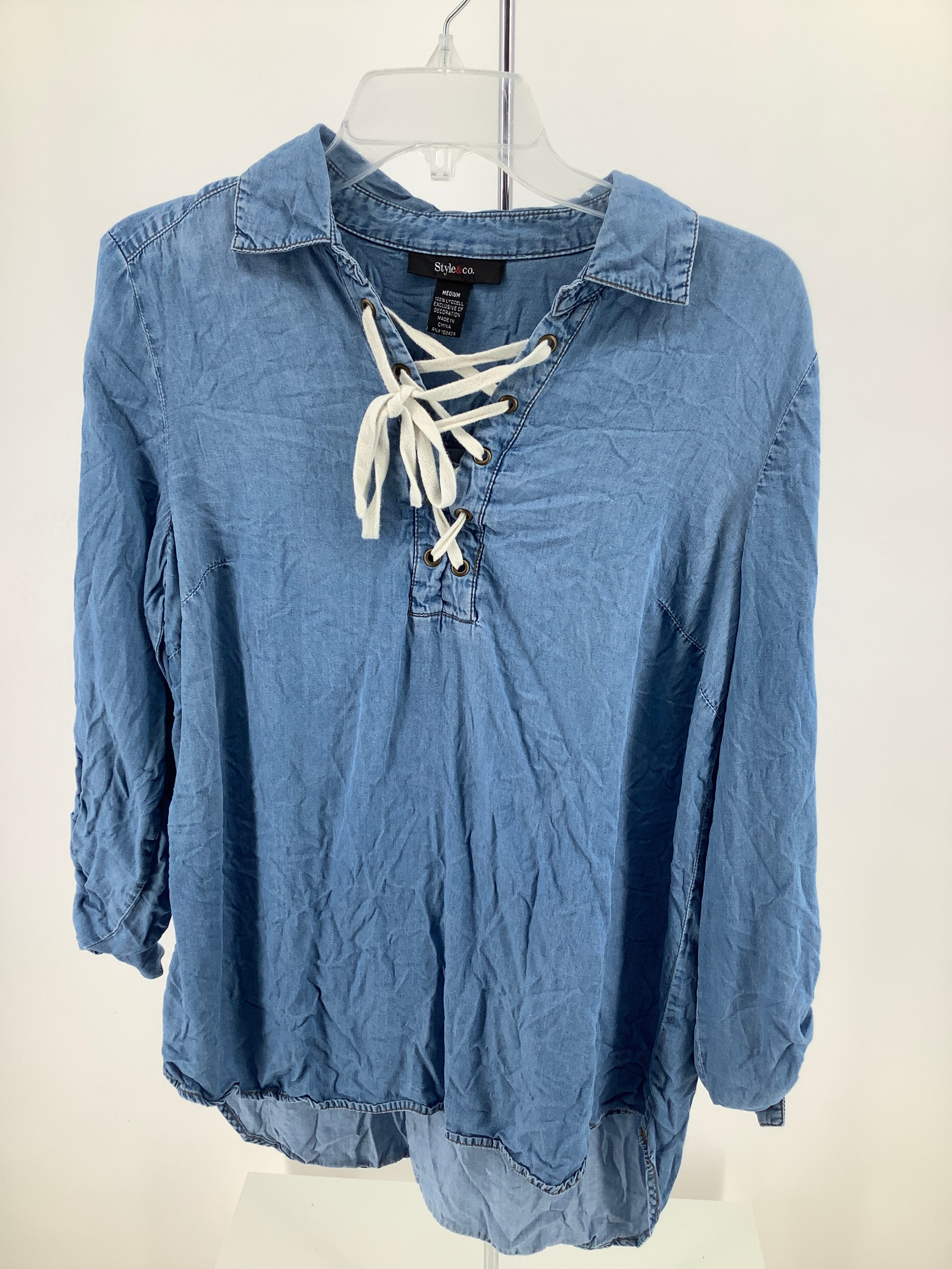 Primary Photo - brand: style and company , style: top long sleeve , color: denim , size: m , sku: 105-3221-14818