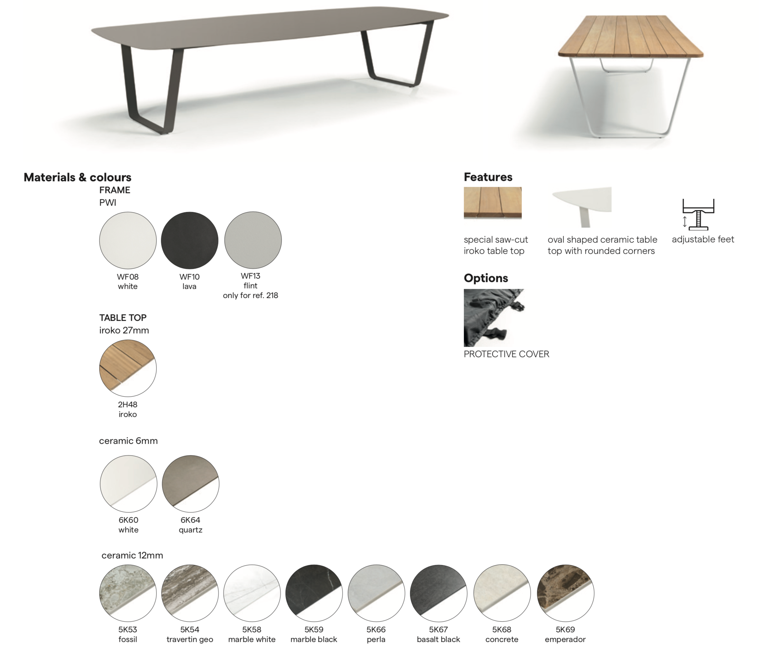 Manutti Air Tables Materials and Colours